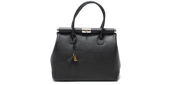 Dámská trendy černá kožená kabelka Renata Corsi