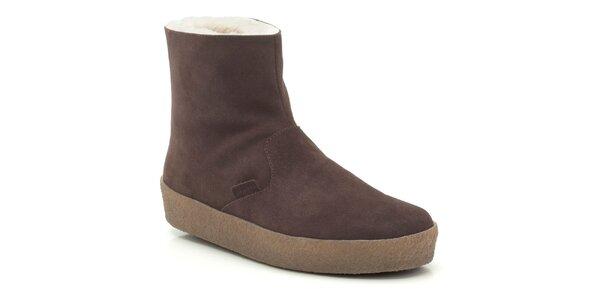Pánské hnědé kotníkové boty s kožíškem Clarks