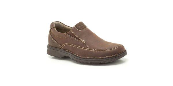 Pánské hnědé nazouvací boty z kůže Clarks