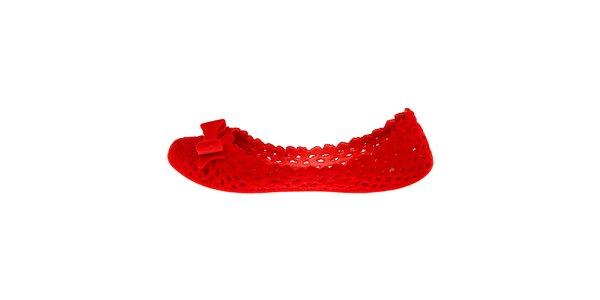 Dámské červené sametové baleríny Mel s mašlí
