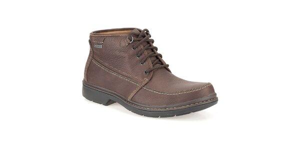 Pánské kožené kotníkové šněrovací boty v hnědé barvě Clarks
