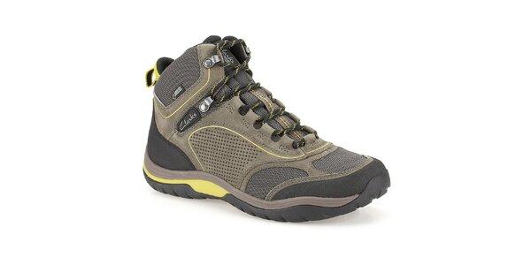 Pánské kotníkové boty s Gore-texem Clarks - olivově zelené
