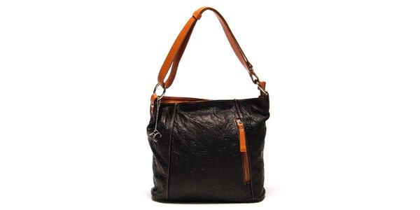 Dámská černá kabelka s reliéfním vzorem Renata Corsi