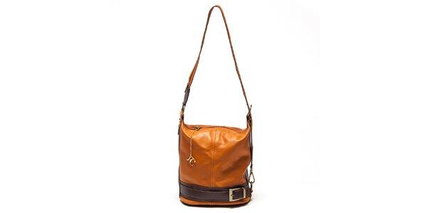 Dámská koňaková kabelka s přezkou Renata Corsi