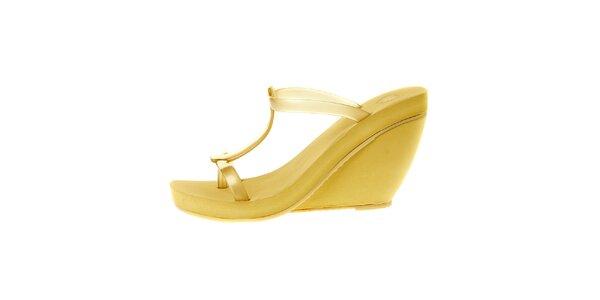 Dámské žluté sandály Mel na vysokém klínu