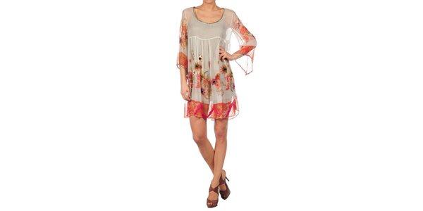 Dámské béžové šaty Nolita s květinovým potiskem