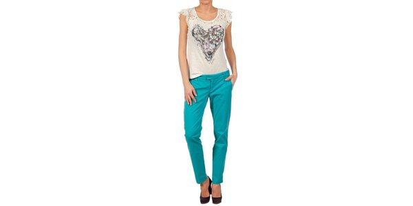 Dámské akvamarínové kalhoty Nolita