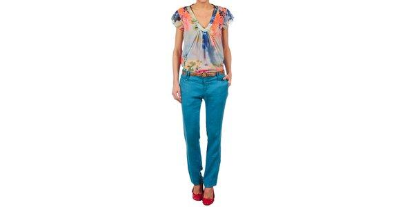 Dámské zářivě modré lněné kalhoty Nolita