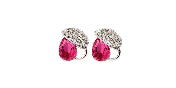 Dámské naušnice s růžovým krystalkem a lístečkem Fifi Ange