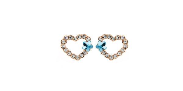 Dámské srdcové náušnice s krystalky Fifi Ange