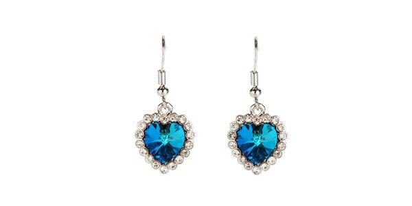 Dámské modré náušnice ve tvaru srdíček s rakouskými krystaly Fifi Ange