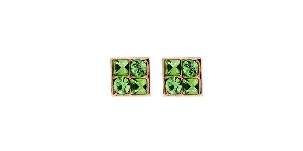 Dámské náušnice se zelenými krystaly Fifi Ange