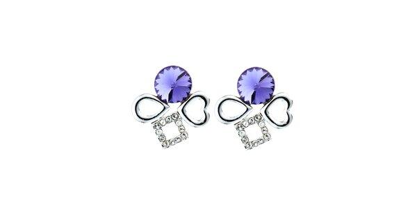 Dámské náušnice s fialovými krystaly Fifi Ange