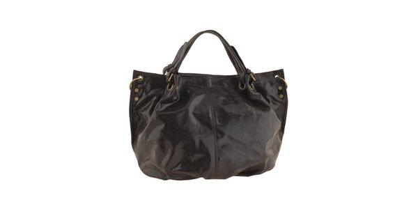 Dámská tmavě hnědá kožená kabelka s nastavitelným popruhem Valentina Italy