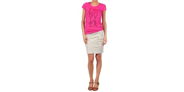 Dámské fuchsiové tričko Nolita s potiskem