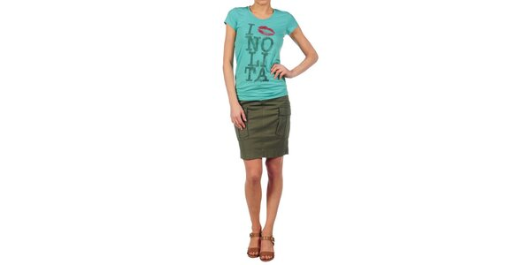 Dámské tyrkysové tričko Nolita s potiskem