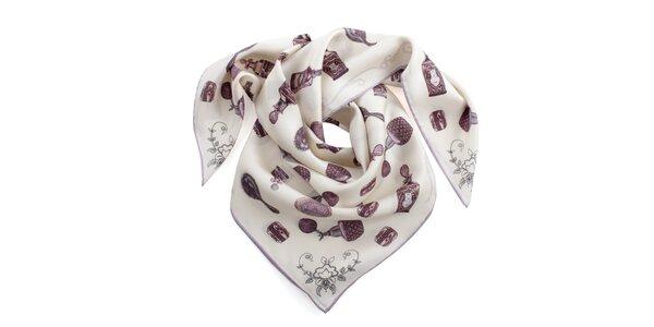 Dámský krémový šátek s potiskem a fialovým okrajem Peitro Filipi