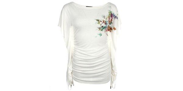 Dámské bílé prodloužené tričko s volánkovými rukávy Pietro Filipi