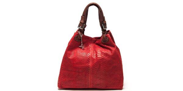 Dámská červená kožená kabelka se šupinatým vzorem Luisa Vannini