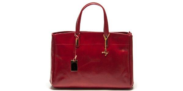 Dámská červená kožená kabelka se třemi odděleními Luisa Vannini
