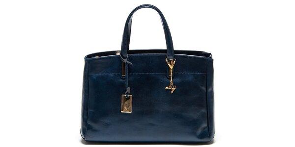 Dámská tmavomodrá kožená kabelka se třemi odděleními Luisa Vannini