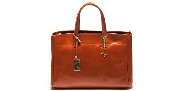 Dámská koňakově hnědá kožená kabelka se třemi odděleními Luisa Vannini
