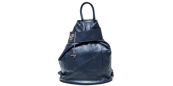 Dámský modrý kožený batoh Luisa Vannini