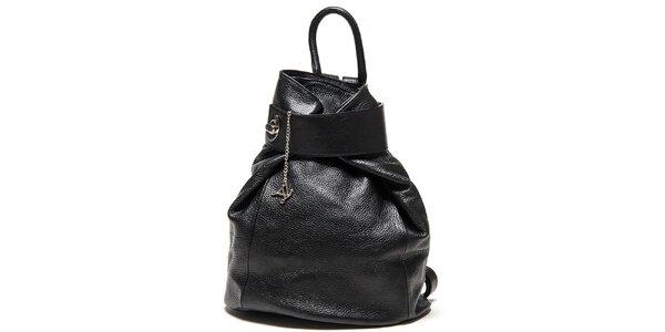 Dámský černý kožený batoh Luisa Vannini