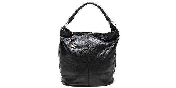 Dámská kožená kabelka s pevným uchem v černé barvě Luisa Vannini