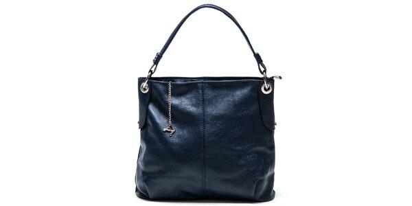 Dámská modrá kožená kabelka s jedním popruhem Luisa Vannini