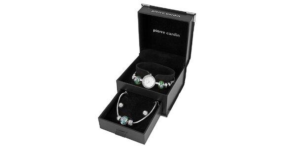 Dámské ocelové hodinky Pierre Cardin se zelenými korálky a náhrdelníkem