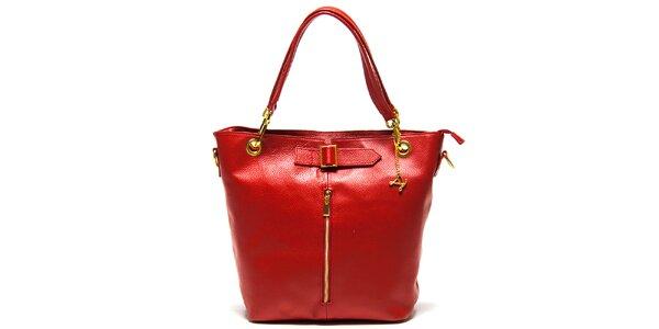 Dámská červená kabelka se zipem Luisa Vannini