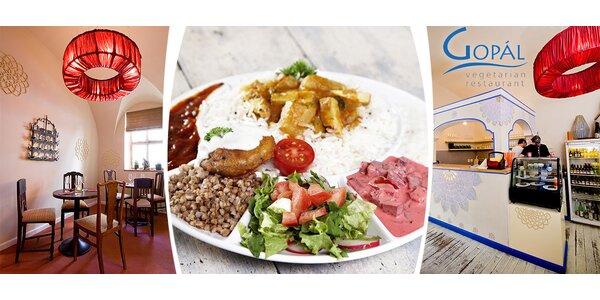 Velké denní menu ve vegetariánské restauraci Gopál