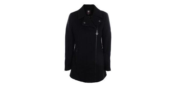 Dámský černý kabát s asymetrickým zapínáním na zip Halifax