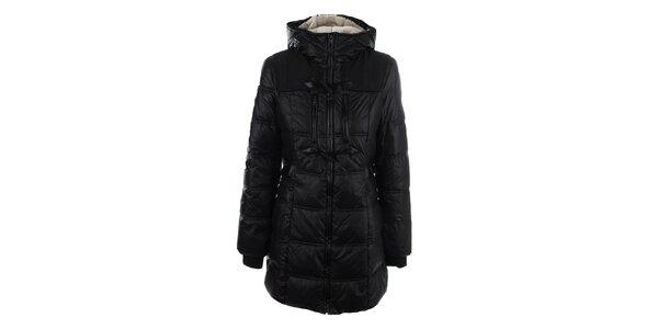 Dámský černý kabát se zipem a knoflíky Halifax