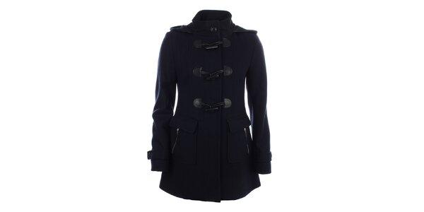 Dámský tmavě modrý kabát s velkými knoflíky Halifax