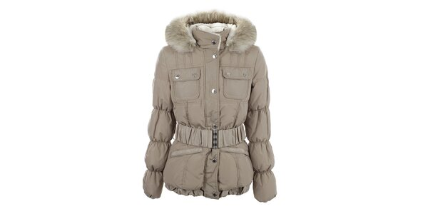 Dámská béžová bunda s prošívanými rukávy Halifax