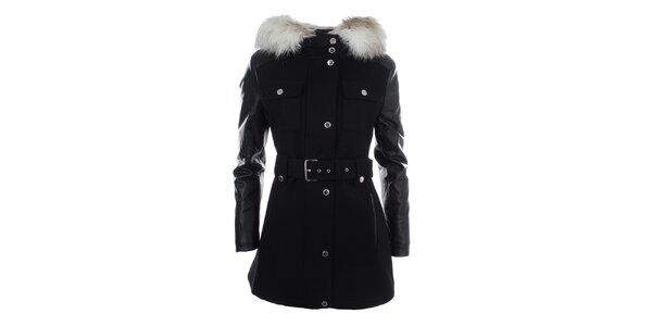 Dámský černý kabátek s kapucí a kožíškem Halifax
