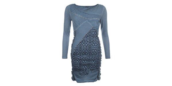 Dámské indigově modré šaty se vzorem Angels Never Die