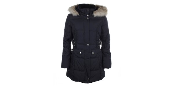 Dámský modrý prošívaný kabát s kožešinkou Halifax