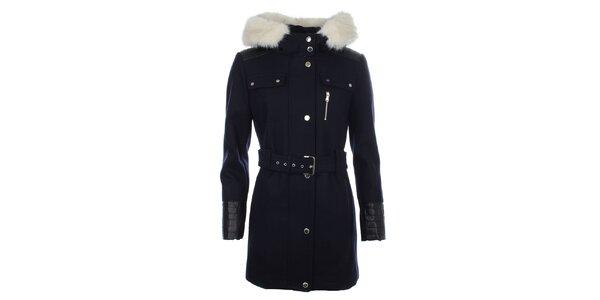Dámský modrý kabát s koženkovými rukávy Halifax