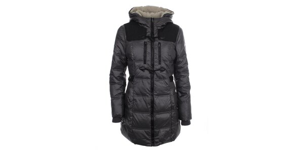 Dámský šedý kabát s kapucí Halifax