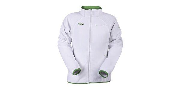 Dámská bílá fleecová mikina se zelenými prvky Furco
