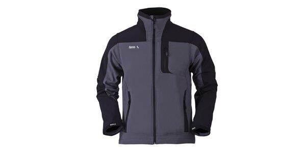 Pánská šedo-černá softshellová bunda Furco