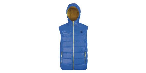 Pánská péřová vesta Furco - modrá se žlutými prvky