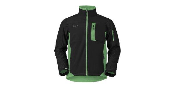 Pánská černo-zelená softshellová bunda Furco