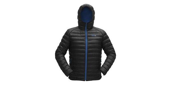 Pánská černá prošívaná bunda s modrým zipem Furco