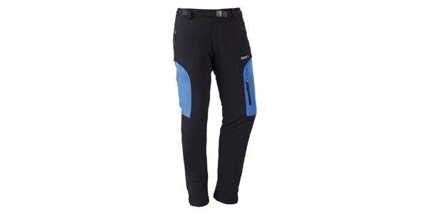 Pánské černé outdoorové kalhoty s modrými prvky Furco