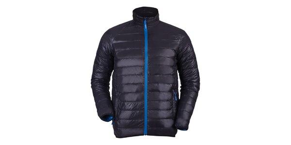 Pánská černá bunda s modrými prvky a prošíváním Furco