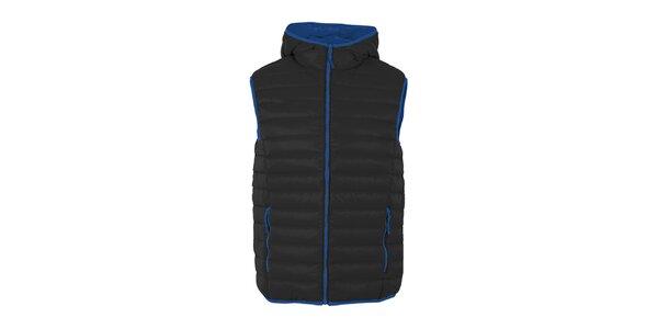 Pánská péřová vesta Furco - černá s modrými prvky